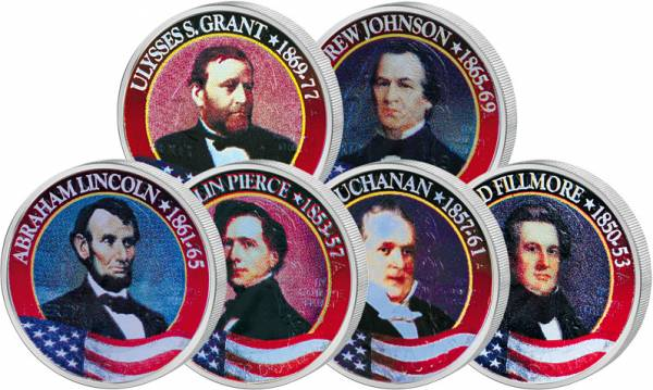 6 x 25 Cents USA Präsidenten-Quarter-Set 1999-2002  vz-st