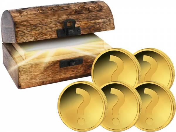 Schatztruhe mit Goldmünzen-Set