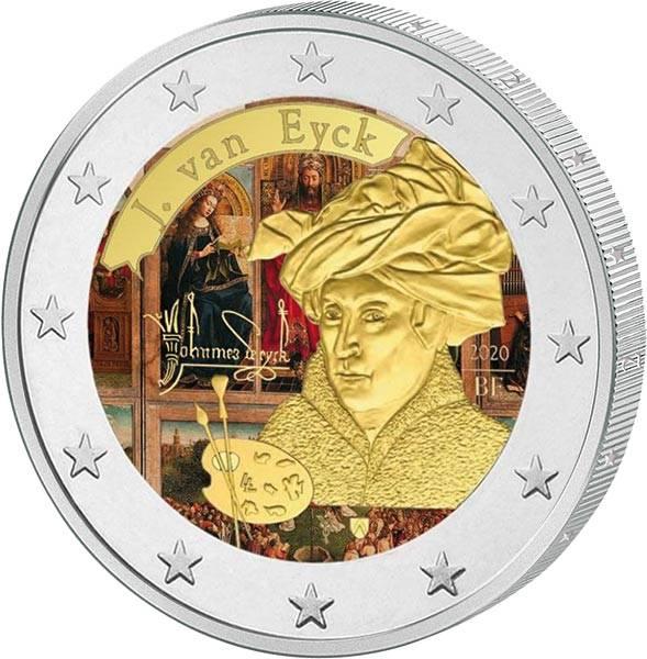 2 Euro Belgien Jan van Eyck 2020 mit Farb-Applikation