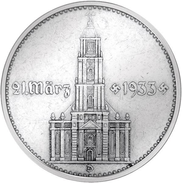 2 Reichsmark Garnisonskirche Potsdam mit Datum 1934 sehr schön