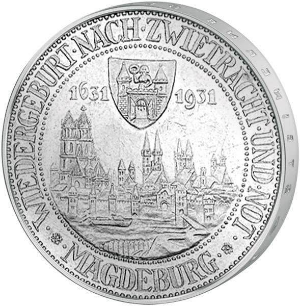 3 Mark Weimarer Republik Magdeburg 1931 Vorzüglich