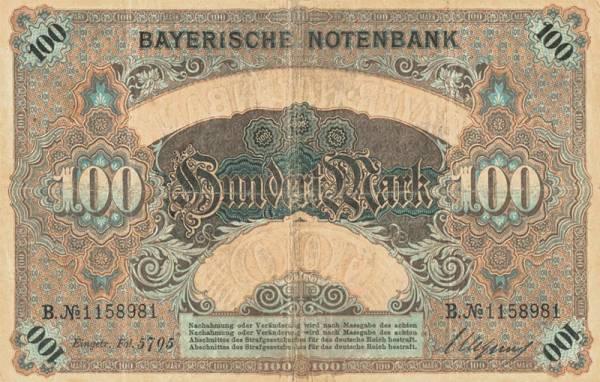100 Mark Banknote Bayern 1900