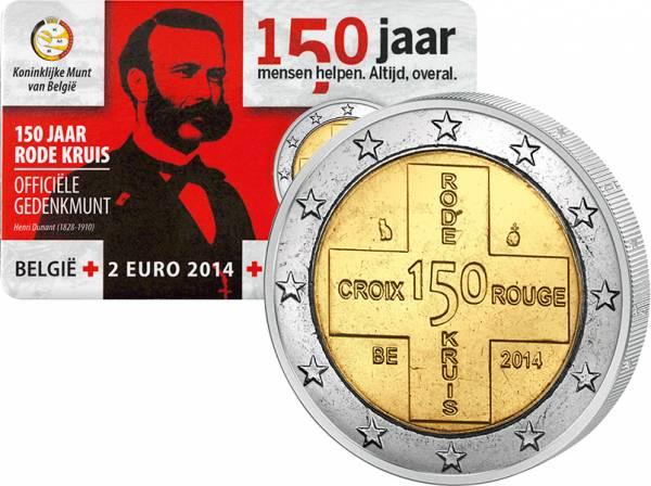 2 Euro Belgien 150 Jahre Rotes Kreuz im Blister 2014 prägefrisch
