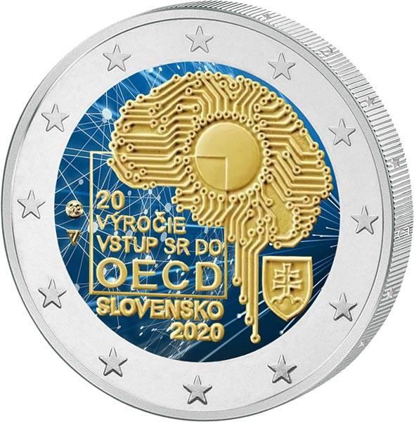 2 Euro Slowakei 20. Jahrestag des Beitritts zur OECD 2020 mit Farb-Applikation