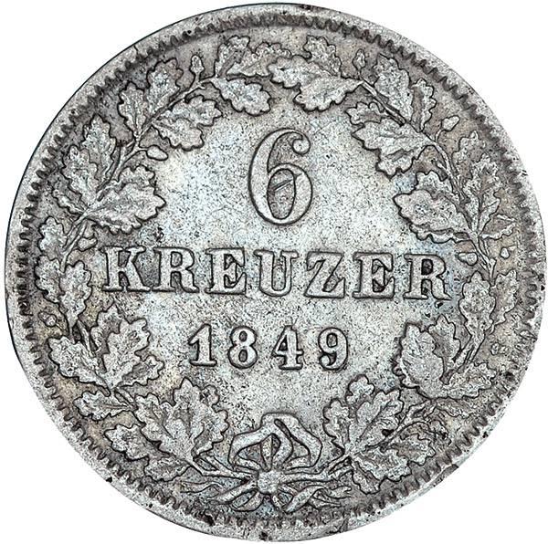 6 Kreuzer Baden Großherzog Leopold mit Wappen