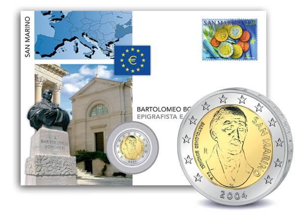 2 Euro Numisbrief San Marino Bartolomeo Borghesi 2004 prägefrisch