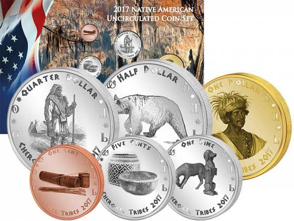 1 Cent - 1 Dollar Kursmünzensatz USA Kursmünzen der Cherokee Georgia 2017