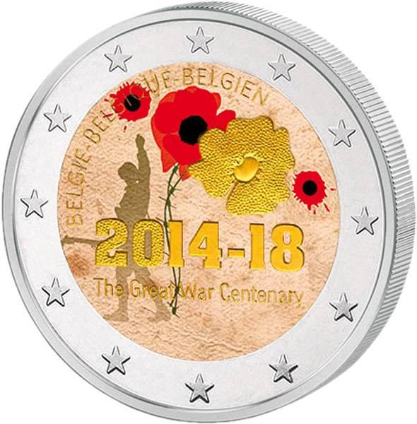2 Euro Belgien 100 Jahre 1. Weltkrieg mit Farb-Applikation 2014 prägefrisch