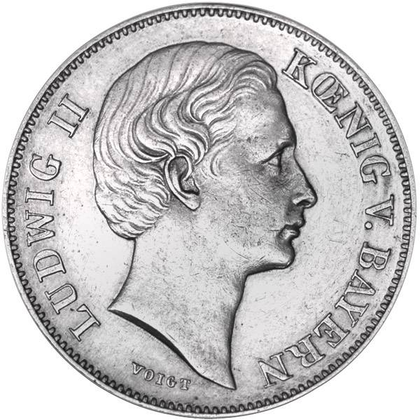 1/2 Gulden Bayern König Ludwig II. 1866-1871 vorzüglich