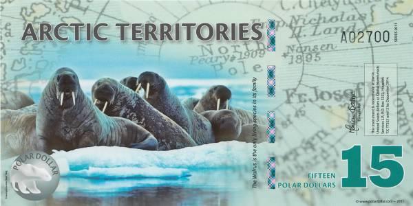 15 Dollars Polymer-Banknote Arktische Territorien Walross