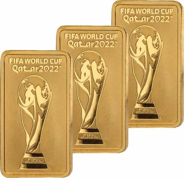 3 x 1 Gramm Goldbarren FIFA WM Qatar Trophäe 2022