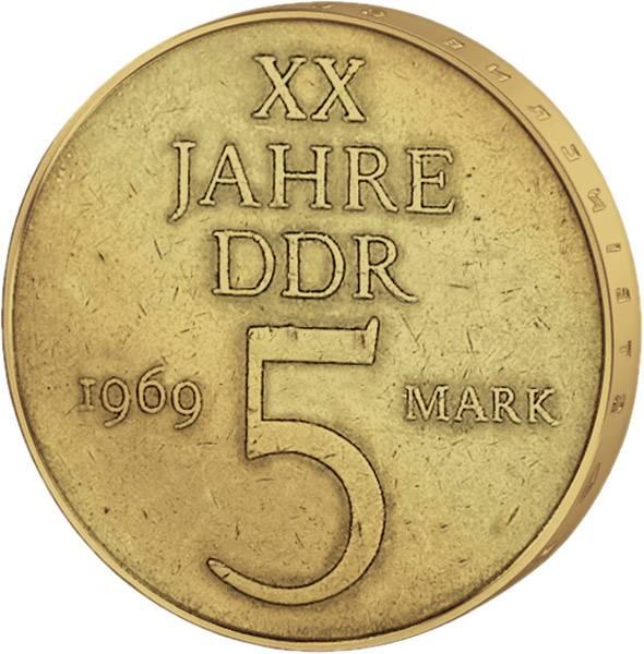 5 Mark  20 Jahre DDR 1969 A vorzüglich