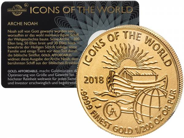 1/200 Unze Gold Ruanda Arche Noah 2018