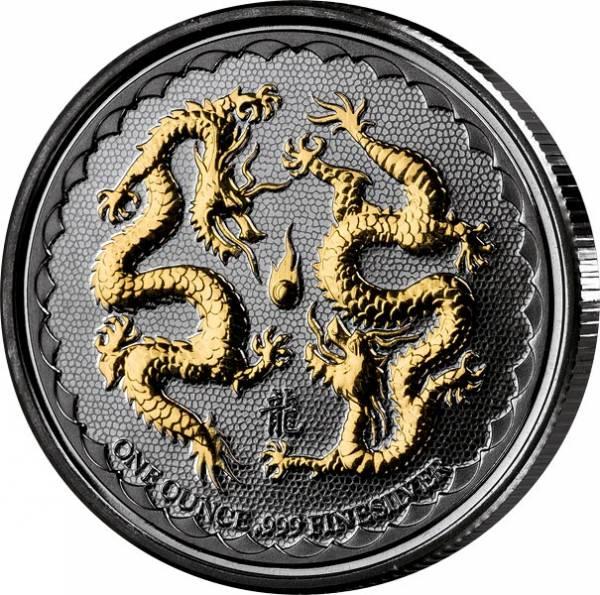 2 Dollars Niue Zwei Drachen Golden Enigma 2018