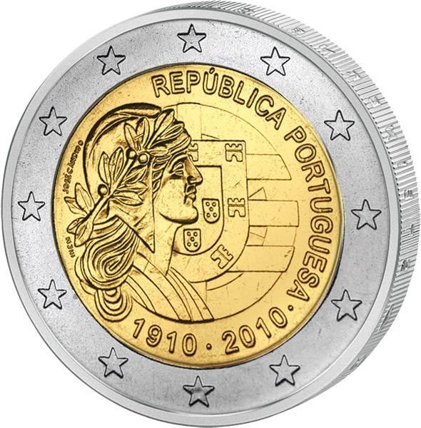 2 Euro Portugal 100 Jahre Portugiesische Republik 2010 prägefrisch