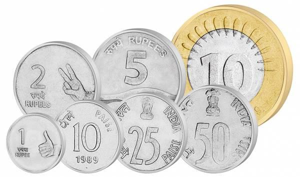 10 Paise - 10 Rupien Kursmünzensatz Indien 1988-2010