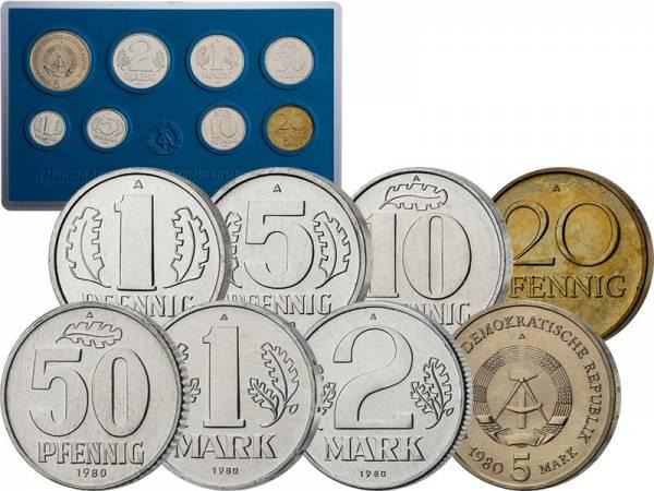 1 Pfennig - 5 Mark Kursmünzensatz DDR 1980