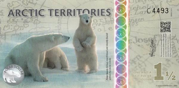 1,5 Dollars Polymer-Banknote Arktische Territorien Polarbären 2014