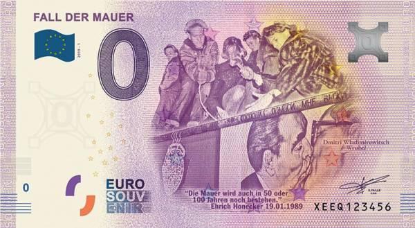 0-Euro-Banknote Fall der Mauer Kuss 2019