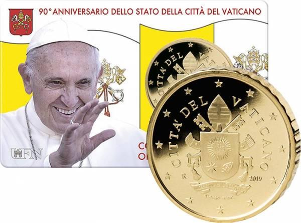 50 Cent Vatikan Papst Franziskus Coin Card 2019