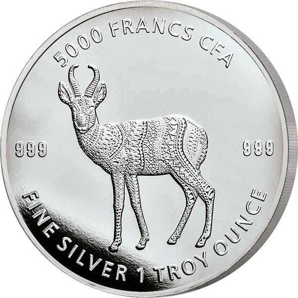 1 Unze Silber Tschad Mandala Antilope 2021