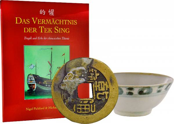 Die Bergung der Tek Sing: intakte Porzellan-Teeschale u. Käschmünze Quing-Dynastie + Buch