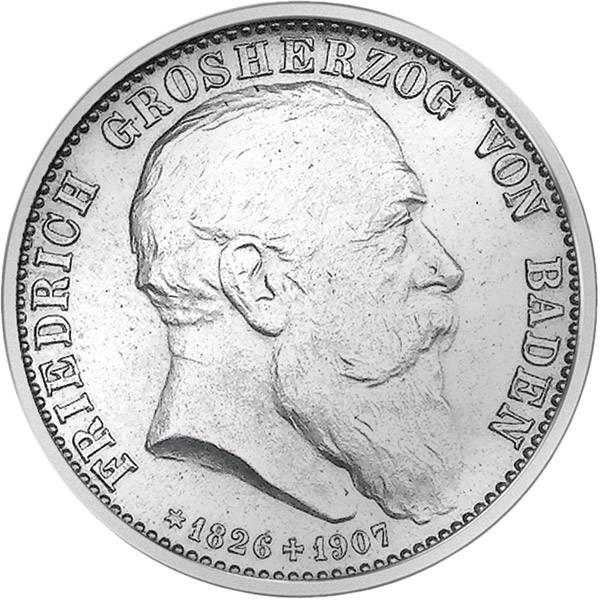 2 Mark Silber Baden Großherzog Friedrich I. 1907 ss-vz