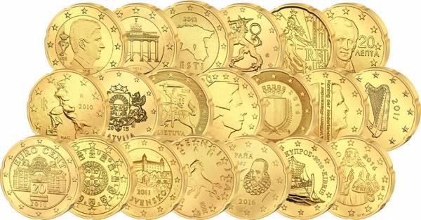 19 x 20 Cent Europa + 20 Cent San Marino