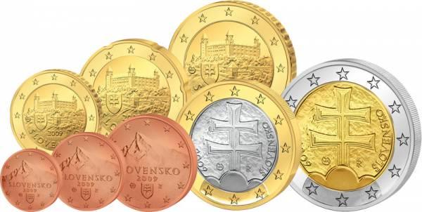 1 Cent-2 Euro (8 Werte) Kursmünzensatz Slowakei J.u.W. prägefrisch