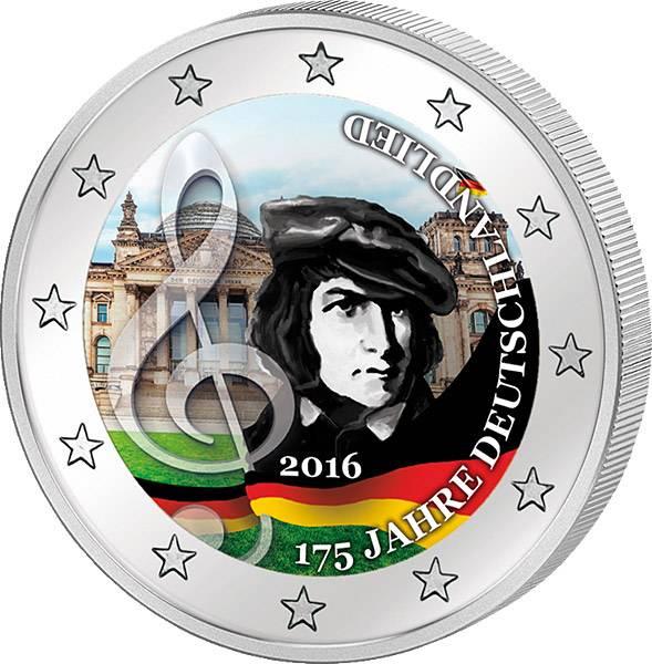 2 Euro BRD mit Farb-Applikation 175 Jahre Deutschlandlied