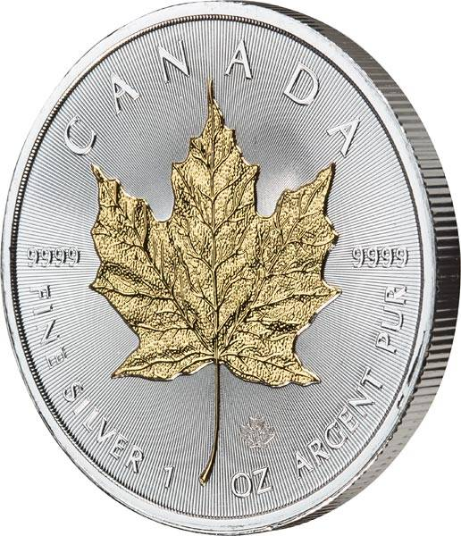 5 Dollars Kanada Maple Leaf 2018 mit Gold-Applikation