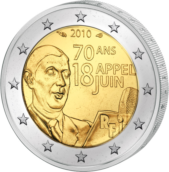 2 Euro Frankreich Charles De Gaulle 2010 Frankreich 2 Euro