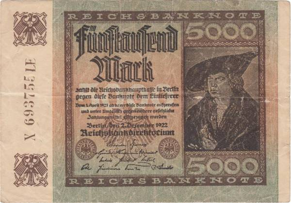5.000 Mark Rosenberg Notgeldschein 1922