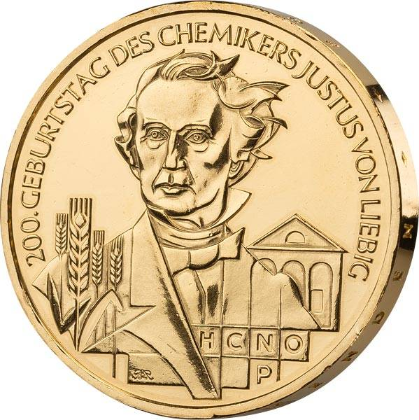 10 Euro BRD 200. Geburtstag Justus Liebig 2003 vollvergoldet