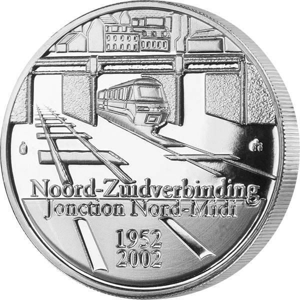 10 Euro Belgien 50 Jahre Eisenbahn Nord-Süd-Verbindung in Brüssel 2002