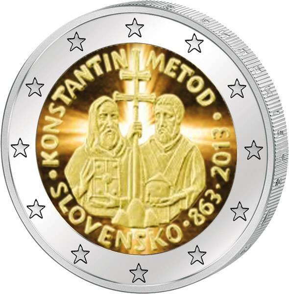 2 Euro Slowakei Kyrill & Method mit Farb-Applikation 2013 prägefrisch