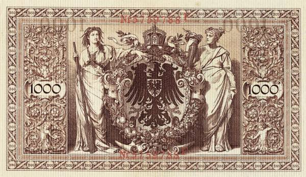 1.000-Mark-Banknote Rotes Siegel 1910