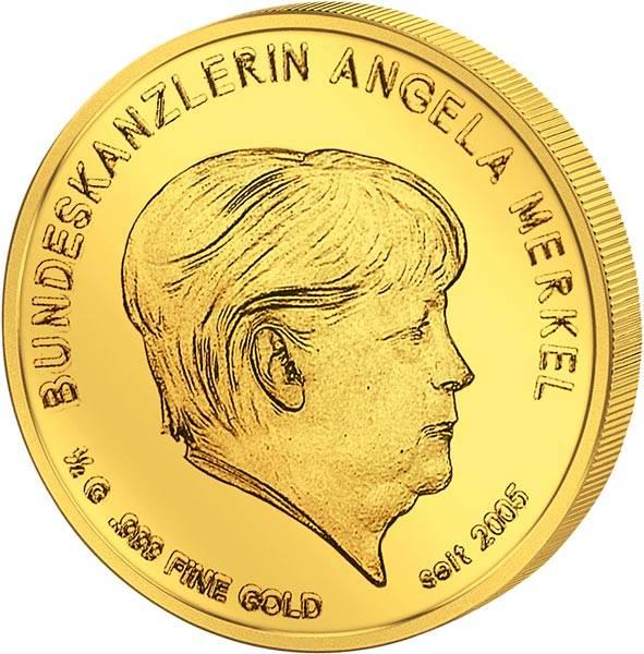 Bundeskanzlerin Angela Merkel in Gold 2017