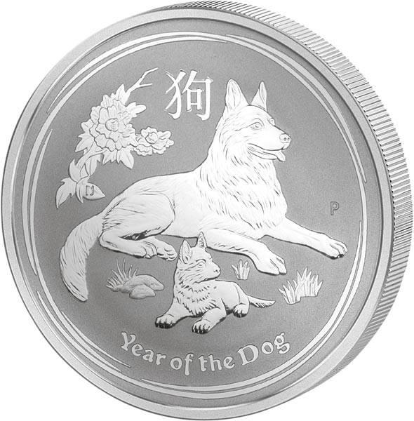 1 Kilo Silber Australien Jahr des Hundes 2018