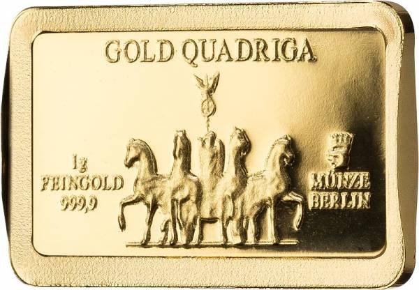 1 Gramm Goldbarren Deutsche Wahrzeichen Quadriga