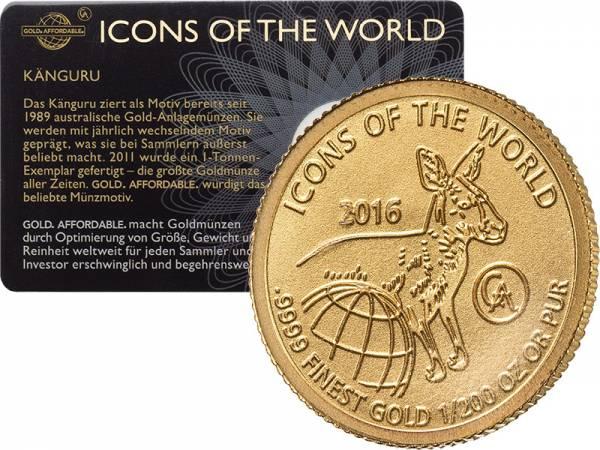 1/200 Unze Gold Ruanda Känguru 2016