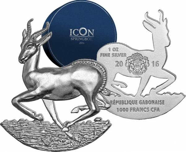 1.000 Francs Gabun Vollskulptur Icon Springbock 2016 - FOTOMUSTER
