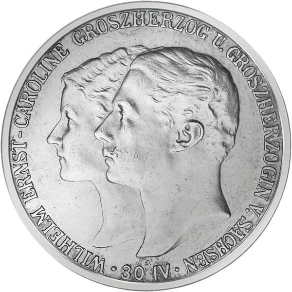 2 Mark Sachsen Weimar Eisenach Hochzeit mit Caroline 1903 Vorzüglich