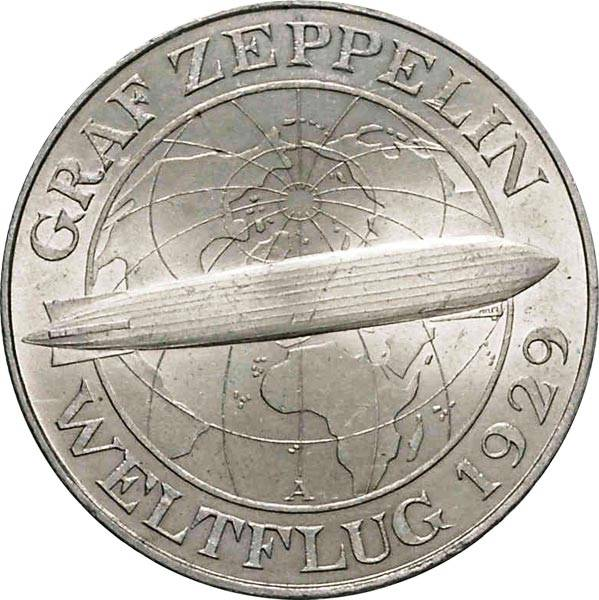 5 Mark Weimarer Republik Graf Zeppelin 1930