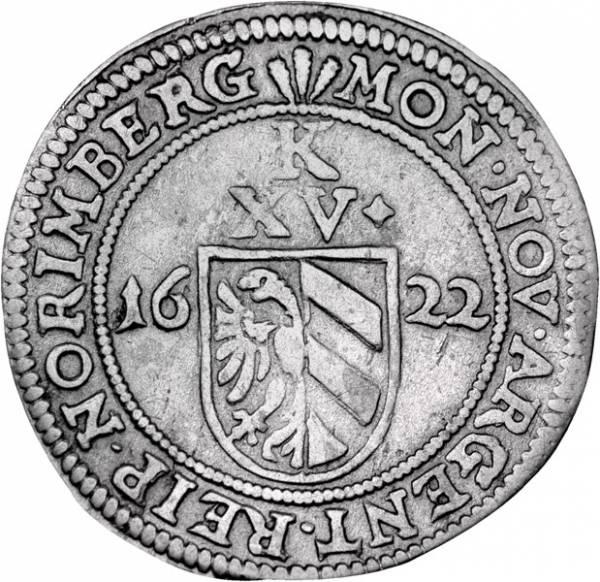 15 Kreuzer Nürnberg Kaiser Ferdinand II. 1622 Sehr schön