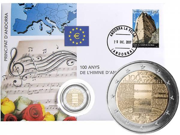 2 Euro Numisbrief Andorra 100 Jahre Hymne Andorras 2017