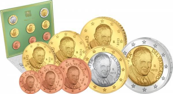1 Cent-2 Euro Kursmünzensatz Vatikan  Ersttags-Edition 2013  Stempelglanz