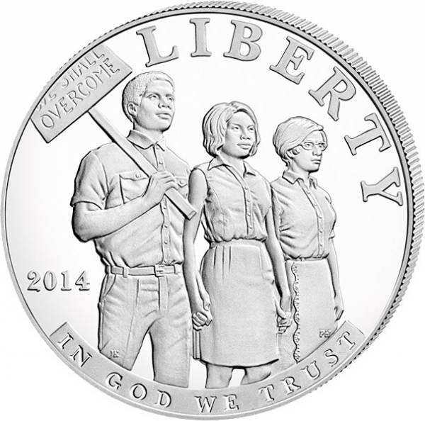1 Dollar USA Bürgerrechte 2014 Polierte Platte (PP)