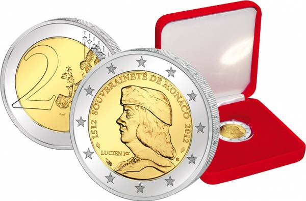 2 Euro  Monaco 500. Jahrestag der Gründung und Unabhängigkeit Monacos  2012  Polierte Platte
