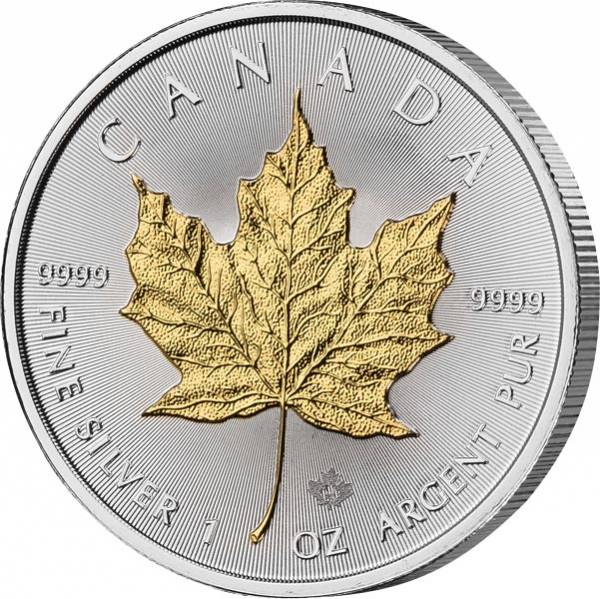5 Dollars Kanada Maple Leaf 2019 mit Gold-Applikation
